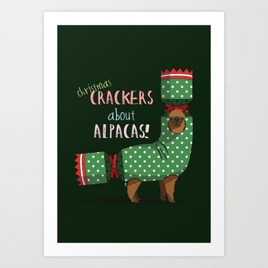 Christmas Crackers About Alpacas! Art Print