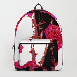 MODERN ART PINK ROSE BLACK & WHITE ART Backpack