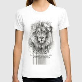 Lion Courage Motivational Quote Watercolor Painting T-shirt