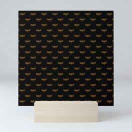 Golden Dragonfly Repeat Gold Metallic Foil on Black Mini Art Print