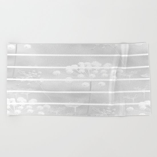 Grey And White Beach Towel