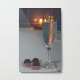 A Perfect Romance. Jacuzzi, Wine and Chocolates Metal Print