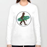 sasquatch Long Sleeve T-shirts featuring Sasquatch Squatchin' Surfing Bigfoot by mailboxdisco