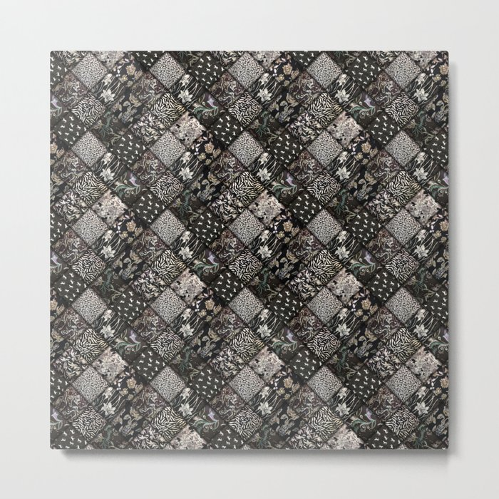 Faux Patchwork Quilting - Black Metal Print