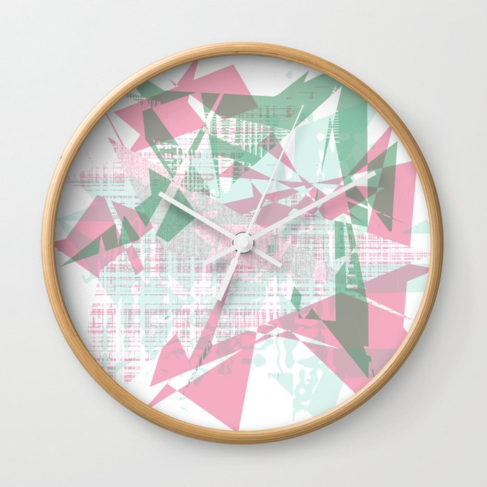 Abstract Background Design Cool Looking Colorful Shapes Wall Clock By Imagek