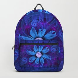 A Snowy Edelweiss Blooming as a Blue Origami Orchid Backpack