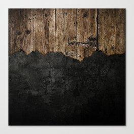 Black Grunge & wood pattern Canvas Print