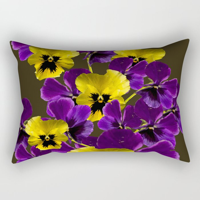 Purple And Yellow Flowers On A Dark Background Decor Art Society6 Rectangular Pillow By Pivivikstrm