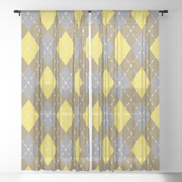 Gray Yellow Brown Argyle Pattern V8 Pantone 2021 Colors of the Year & Accent Shades Sheer Curtain