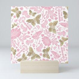 Elegant Rosewater Pink Gold Butterfly Floral Pattern Mini Art Print