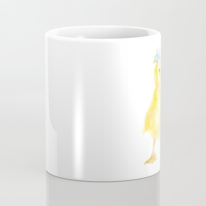 Yellow Duckling Flower Watercolor Coffee Mug