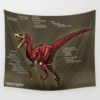 muscle Wall Tapestries featuring Velociraptor Muscle Study by Rushelle Kucala Art