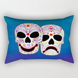 Comedy-Tragedy Colorful Sugar Skulls Rectangular Pillow