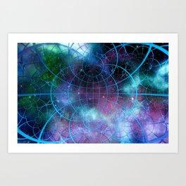 Network earth block chain globe Art Print