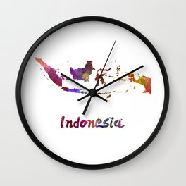 Indonesia in watercolor Wall Clock