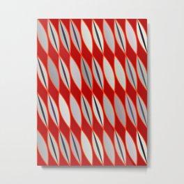 Mid Century Modern Leaves, Dark Red & Gray / Grey Metal Print