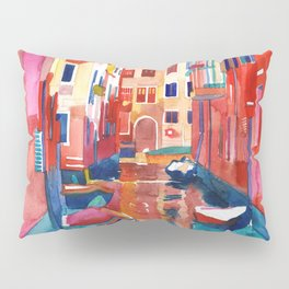 Venice Street with boats Pillow Sham