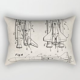 Nasa Space Shuttle Patent - Nasa Shuttle Art - Antique Rectangular Pillow
