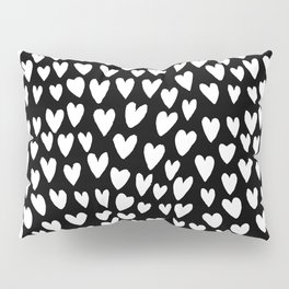 Linocut printmaking hearts pattern minimalist black and white heart gifts Pillow Sham