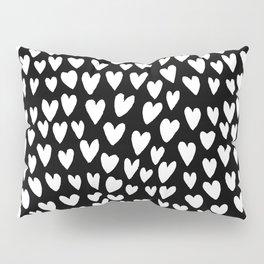 Linocut printmaking hearts pattern minimalist black and white heart gifts Pillow Sham