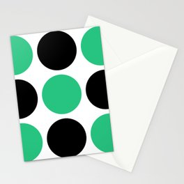 Mid Century Modern Polka Dot Pattern 9 Black and Green Stationery Cards