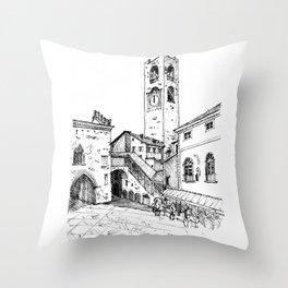 Old Square, Bergamo Throw Pillow