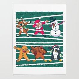Dabbing Celebration Christmas Santa Teem Poster