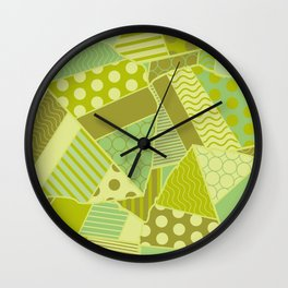 Graphic Leaf Patchwork (Spring Green Bold Colors) Wall Clock