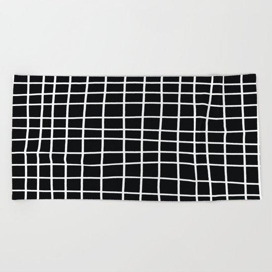 Handdawn Grid Black Beach Towel