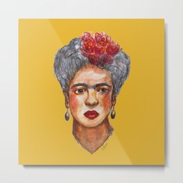 Hand painted watercolor frida kahlo Metal Print