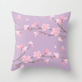 Cherry Blossom - Pale Purple Throw Pillow