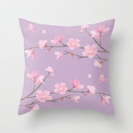 Cherry Blossom - Pale Purple Throw Pillow