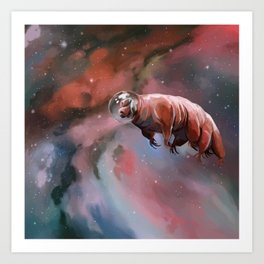Water bear (tardigrade) in space Art Print