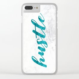 Blue Hustle Text Marble Clear iPhone Case
