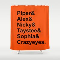 oitnb Shower Curtains featuring OITNB Orange Inmates Names by Double Dot Designs