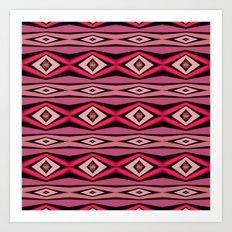 Pink Black and White Diamond Abstract Art Print