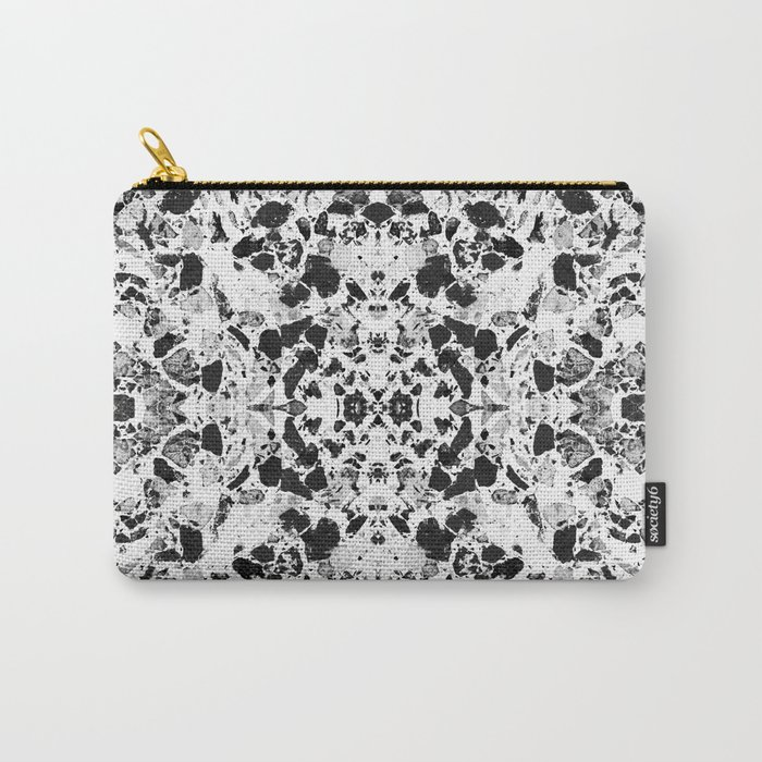 Beautiful Black and White Terrazzo Tile Carry-All Pouch by dominiquevari