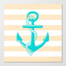 Tan and Teal Anchor Canvas Print