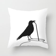 Thirsty crow Throw Pillow