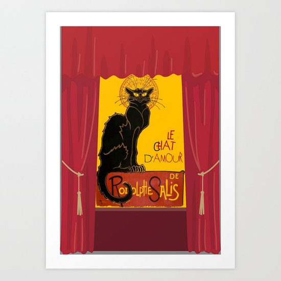 Le Chat D'Amour with Theatrical Curtain Border Art Print