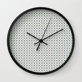 Blue Angled Polka Dot Grid Line Pattern on Linen White - 2020 Color of the Year Chinese Porcelain Wall Clock