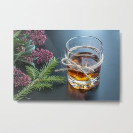 Whisky in glass with natural jute hemp cord ribbon bow on dark background Metal Print