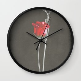 Red Lisianthus on Black  Wall Clock