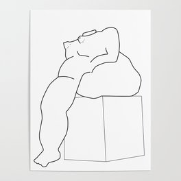 Drawing of a Botero statue, Medellin, Colombia Poster