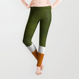 Olive Green Yellow Ochre Minimalist Abstract Colorful Midcentury Pop Art Rothko Color Field Leggings