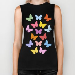 Multicoloured Butterflies Pattern Biker Tank