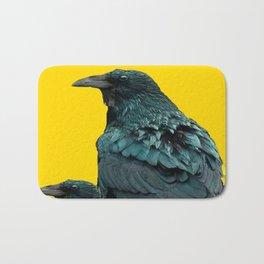 TWO CROW/RAVEN BIRD PORTRAITS & SUNFLOWERS GOLD  ART Bath Mat