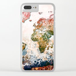 world map colors splats Clear iPhone Case