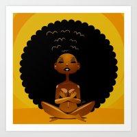 spiritual Art Prints featuring Spiritual AfroGirl by Pweety Sexxay
