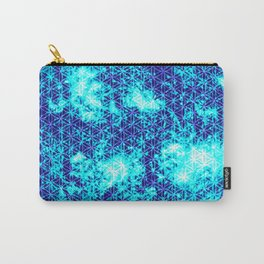 """""""Blue Sacred Sun"""" Sacred Geometry Space Art Print Carry-All Pouch"""